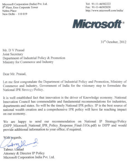 Microsoft-Response-on-Draft-National-IPR-Strategy